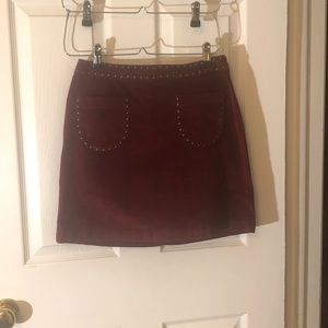 Dresses & Skirts - Crushed maroon velvet mini skirt